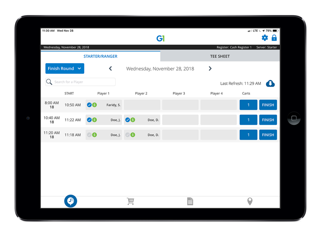 The electronic tee sheet in G1, golf course management software